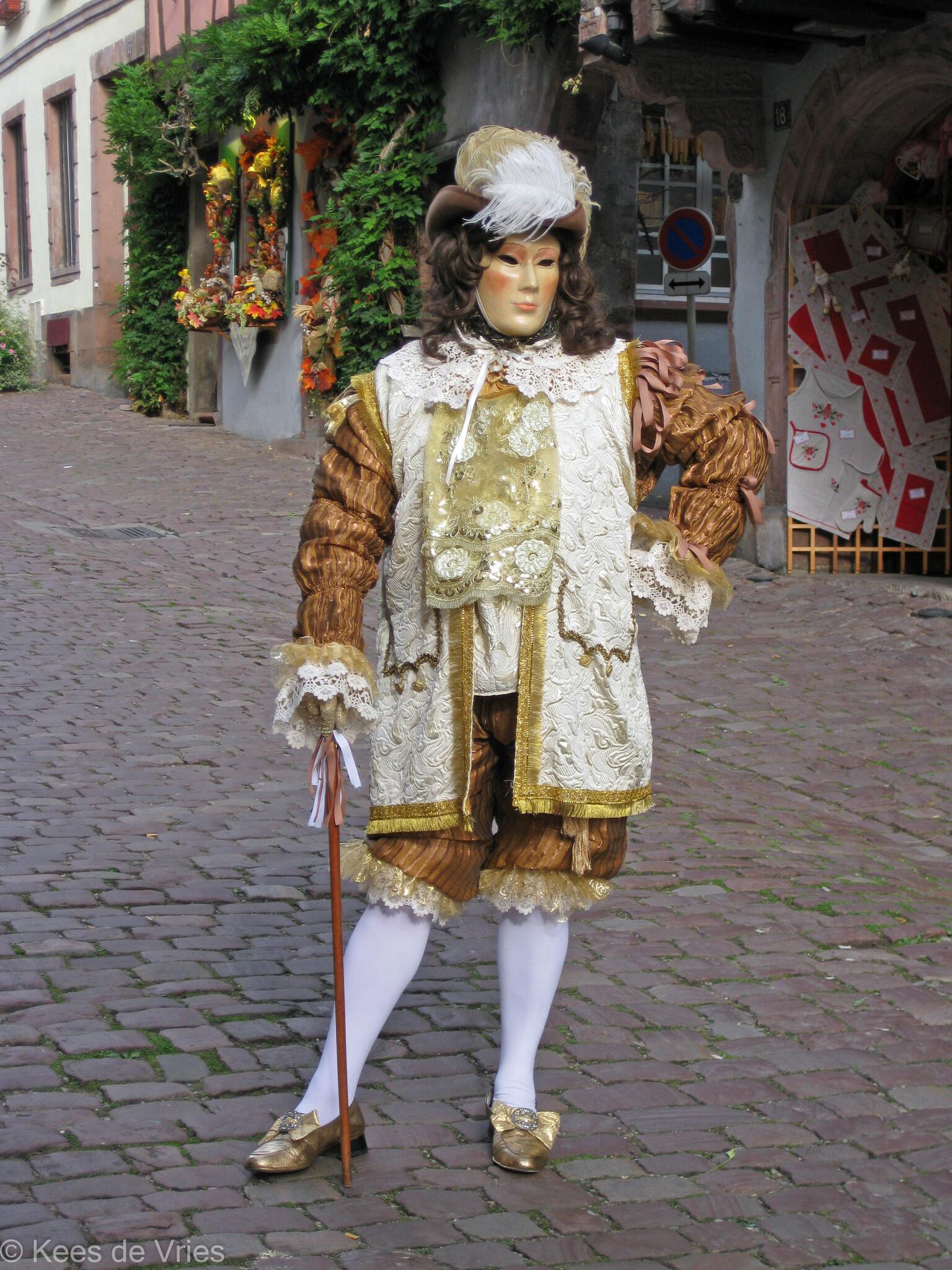 Elzas 2012 - Venetiaanse Parade in Riquewihr in de Elzas - foto door KdV59 op 05-05-2021 - locatie: 68340 Riquewihr, Frankrijk - deze foto bevat: fabriek, venster, jurk, straatmode, heeft, hoofddeksel, mode ontwerp, brillen, weg, dij