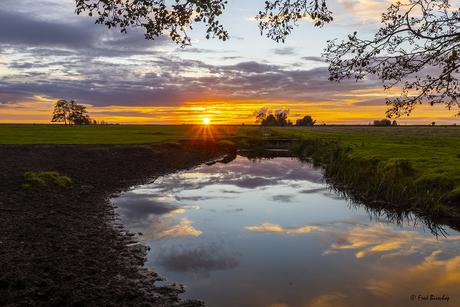 Zonsondergang in de Oderdelta, Polen