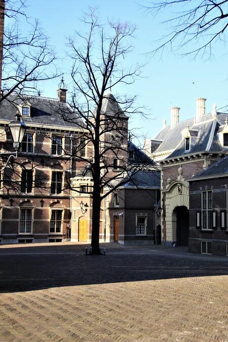 Het Kabinet heeft het binnenhof verlaten  - Het Kabinet heeft het binnenhof door de poort verlaten en wacht op de intocht van een nieuw Kabinet . Gtjs.AJ62   - foto door AJ62 op 10-04-2021 - locatie: 2513 AA Den Haag, Nederland - deze foto bevat: lucht, dag, venster, gebouw, boom, weg oppervlak, takje, buurt, woongebied, facade