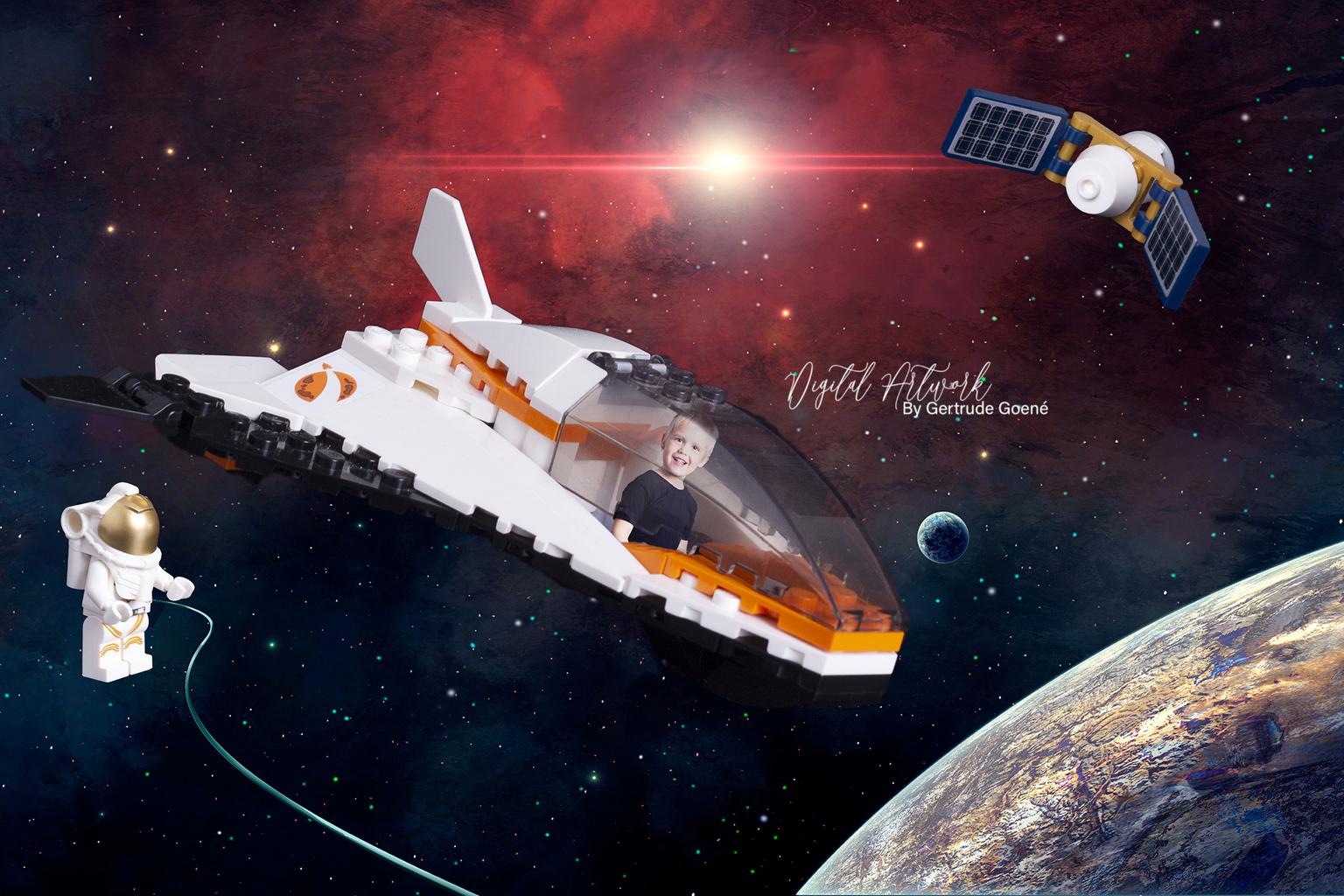 Ruimte wandeling met Astronaut  - Vandaag heeft Aryen geholpen met een ruimte wandeling die zijn Astronaut collega moest uitvoeren om de Sataliet te beoordelen of hij nog goed was. Ui - foto door LegoUniverseAryen op 15-04-2021 - deze foto bevat: lego, legomasters, kunst, digitale kunst, fotomanipulatie, wereld, licht, ruimtevaartuig, astronomisch object, ruimte, wetenschap, voertuig, ruimte, ruimtevliegtuig, kunst