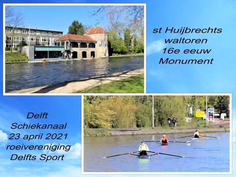 Collage  Delftse Schiekanaal  met st Huijbrechts waltoren  23 april 2021