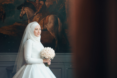 Bride with her flowers